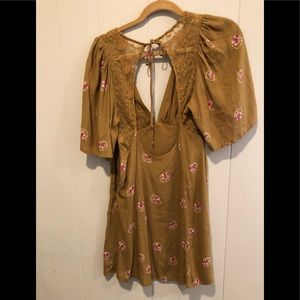 Free people mustard floral dress 0 NWT